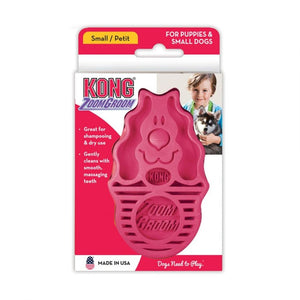 Kong ZoomGroom Dog Brush - Raspberry Small (For Puppies & Small Dogs) - All Pets Store