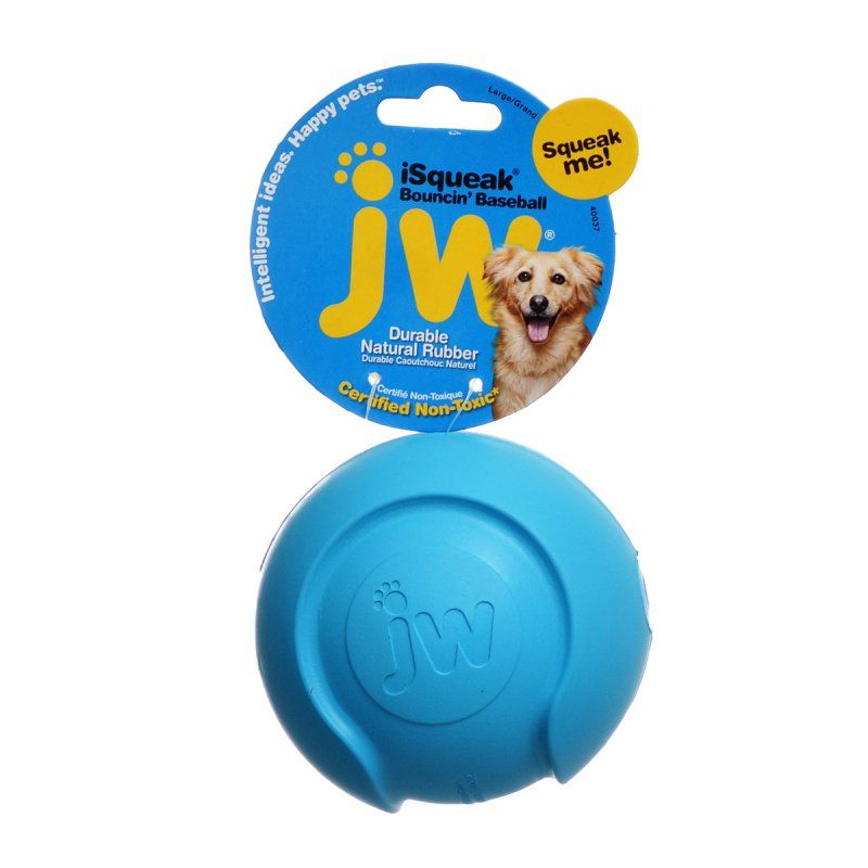 "JW Pet iSqueak Bouncing Baseball Rubber Dog Toy Large - 4"" Diameter - All Pets Store"