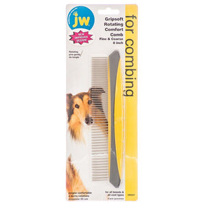 "JW Gripsoft Rotating Comfort Comb Fine/Course Comb - 8"" Wide - All Pets Store"