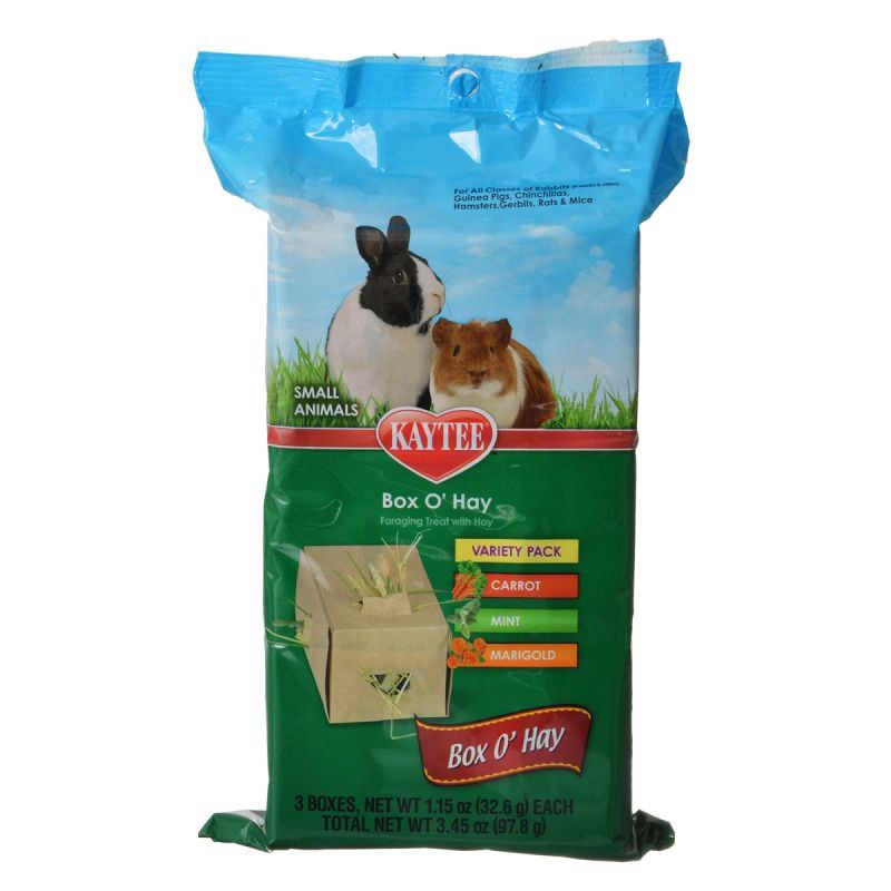 Kaytee Box 'O Hay Variety Pack - Carrot, Mint & Marigold 3.4 oz - All Pets Store