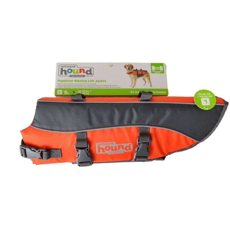 "Outward Hound Pet Saver Life Jacket - Orange & Black Large - Dogs 40-70 lbs (Girth 26""-35"")"