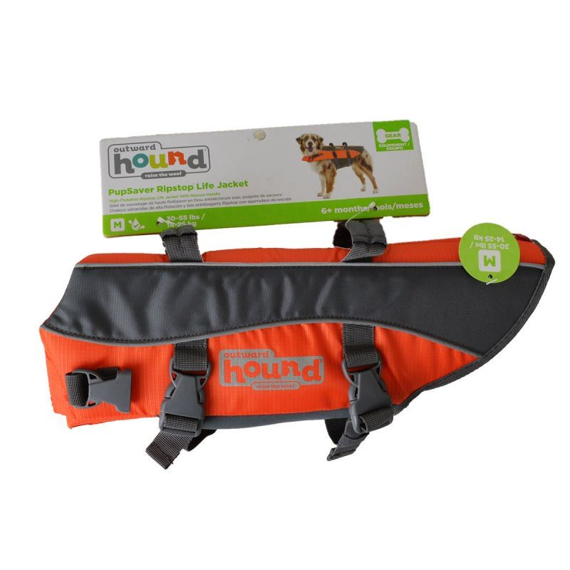 "Outward Hound Pet Saver Life Jacket - Orange & Black Medium - Dogs 20-50 lbs (Girth 22""-29"")"
