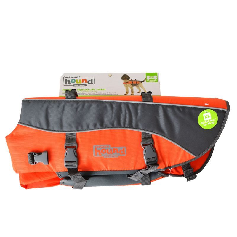 "Outward Hound Pet Saver Life Jacket - Orange & Black X-large - Dogs over 70 lbs (Girth 31""-42"")"