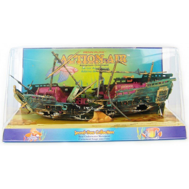 "Penn Plax Action Air Shipwreck Aquarium Ornament 10"" Long x 7"" High (With Masts in Place) - All Pets Store"