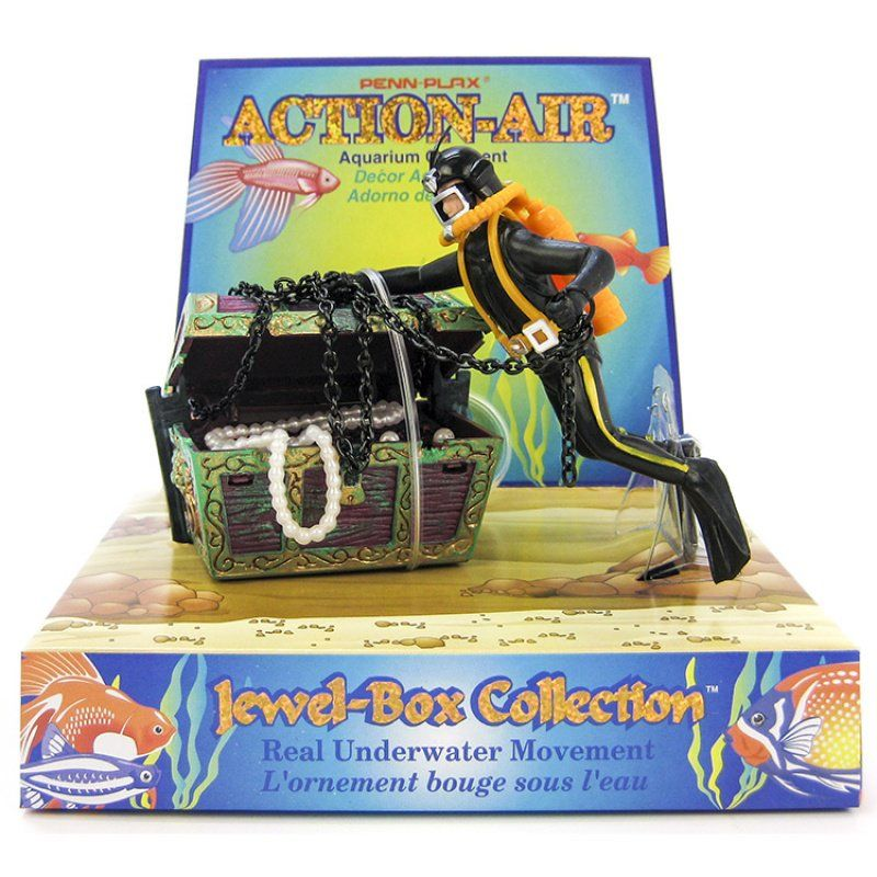 "Penn Plax Action Aerating Treasure Diver 3""L x 3""W x 4""H - All Pets Store"