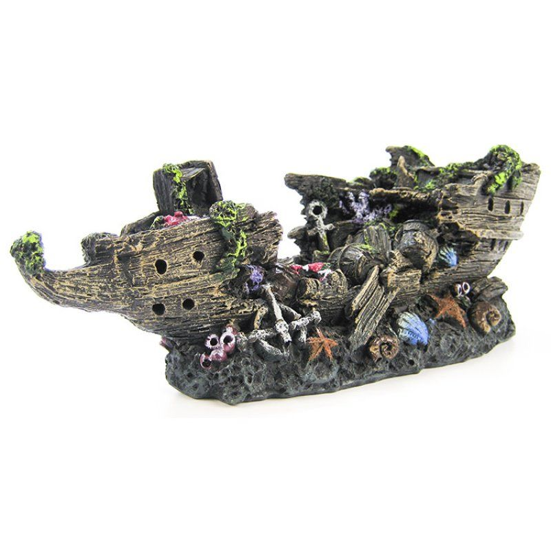 "Penn Plax Split Shipwreck Aquarium Decor Small (10"" Long) - All Pets Store"