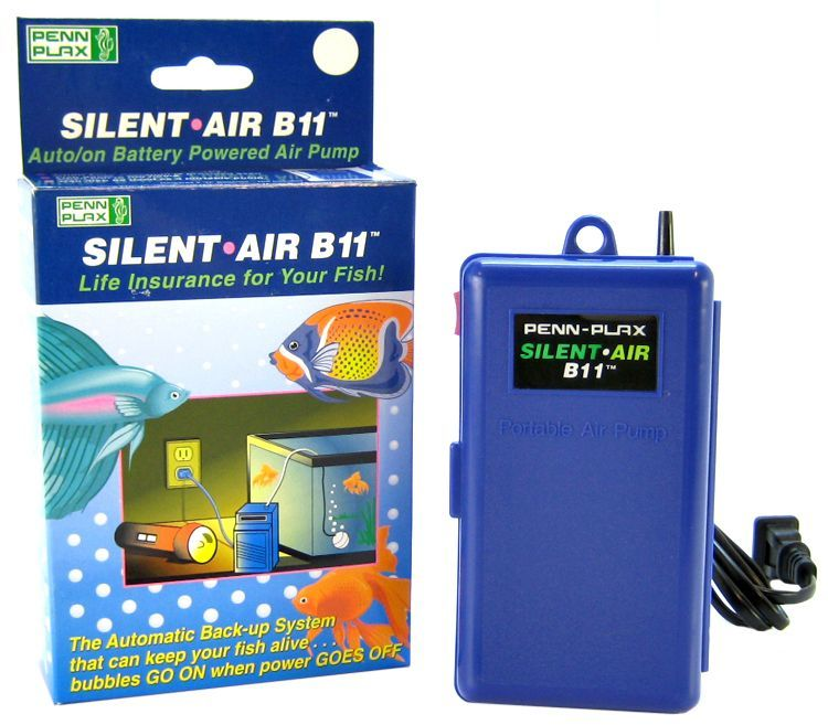 Penn Plax Silent-Air B11 Battery Back-Up Pump Auto On with Plug In - All Pets Store