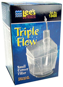 "Lees Triple Flow Corner Filter Small - 3.25""L x 3.25""W x 5""H (45 GPH) - All Pets Store"