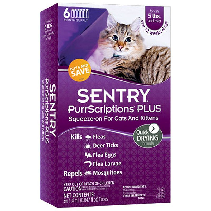 Sentry PurrScriptions Plus Flea & Tick Control for Cats & Kittens Cats Over 5 lbs - 6 Month Supply