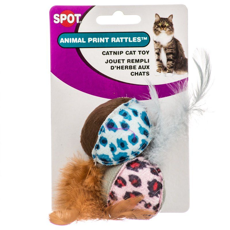 Spot Spotnips Rattle with Catnip - Animal Print 2 Pack