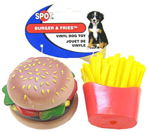 Spot Vinyl Hamburger & Fries Dog Toy 2 Pack - All Pets Store