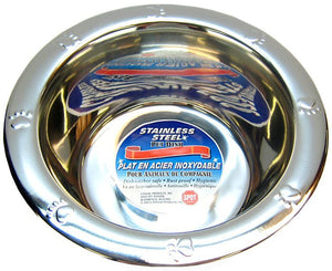 "Spot Stainless Steel Embossed Rim Pet Dish 32 oz (7.3"" Diameter) - All Pets Store"