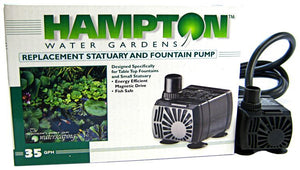 Hampton Water Gardens Replacement Statuary & Fountain Pump 35 GPH with 6' Power Cord - All Pets Store