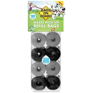 Bags on Board Pick up Bags Refill - Black & Gray 120 Bags - All Pets Store