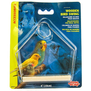 "Living World Wood Perch Bird Swings 4"" Long x 5"" High - All Pets Store"