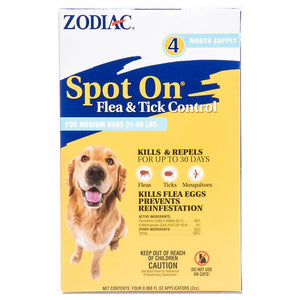 Zodiac Spot on Flea & Tick Controller for Dogs Medium Dogs 31-60 lbs (4 Pack) - All Pets Store
