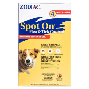 Zodiac Spot on Flea & Tick Controller for Dogs Small Dogs 16-30 lbs (4 Pack) - All Pets Store
