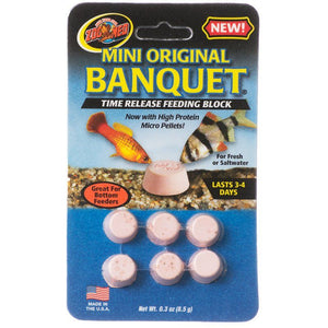 Zoo Med Mini Original Banquet Fish Feeding Block Mini - .3 oz Total (6 Pack) - All Pets Store