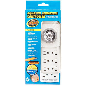 Zoo Med Aquatic AquaSun Aquarium Controller Timer & Powerstrip 8 Outlet Powerstrip with 24 Hour Timer - All Pets Store