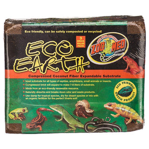 Zoo Med Eco Earth Compressed Coconut Fiber Expandable Substrate 3 Pack (Makes 21-24 Liters) - All Pets Store
