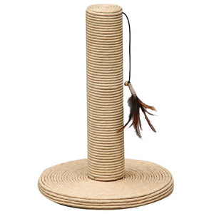 "Pet Pals Paper Scratching Post with Feather Toy 15"" Tall x 10"" Diameter - All Pets Store"