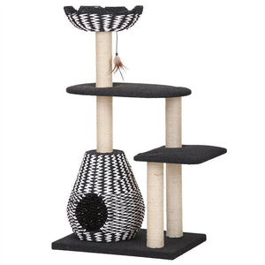 "Pet Pals Contemporary 4-Level Cat House with Feather Teaser 27""L x 19""L x 49""H - All Pets Store"