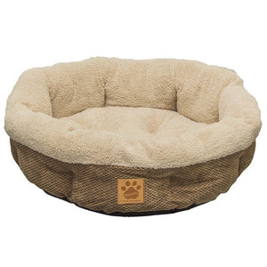 "Precision Pet Natural Surroundings Shearling Dog Donut Bed - Coffee 21"" Diameter x 5"" High - All Pets Store"