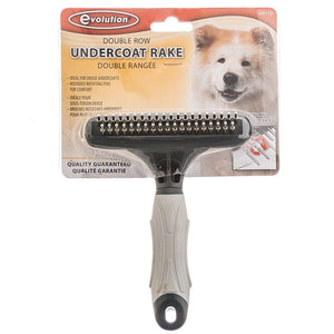 "Evolution Undercoat Rake with Rotating Pins Double Row - For Dense Coats - (5.5"" Long x 4.5"" Wide) - All Pets Store"