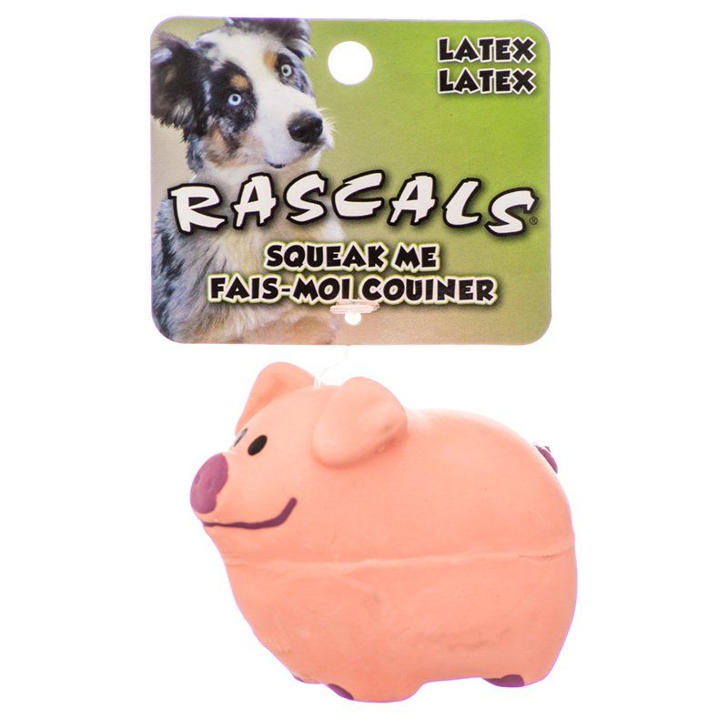 "Rascals Latex Pig Dog Toy - Pink 2.75"" Long - All Pets Store"