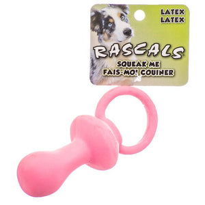 "Rascals Latex Pacifier Dog Toy - Pink 4.5"" Long - All Pets Store"