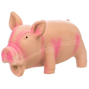 "Rascals Latex Grunting Pig Dog Toy - Pink 6.25"" Long - All Pets Store"