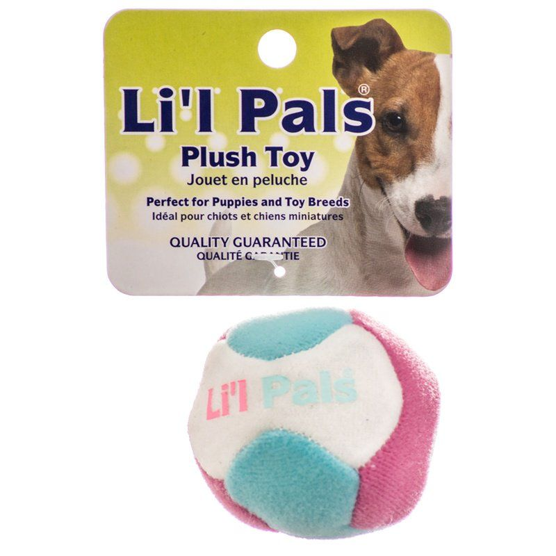 "Lil Pals Multi Colored Plush Ball with Bell for Dogs 1.5"" Diameter"