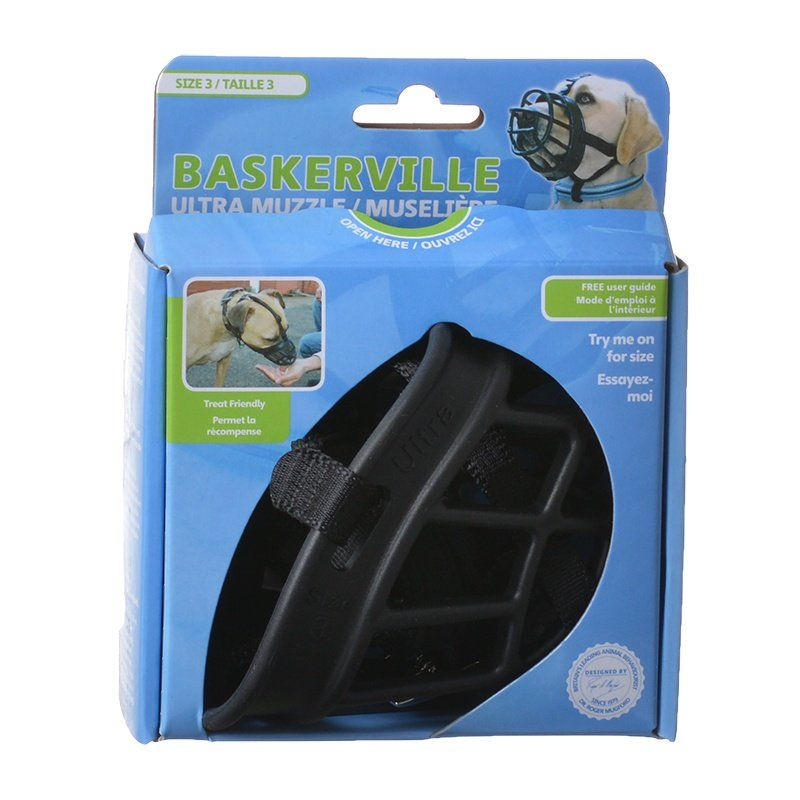 "Baskerville Ultra Muzzle for Dogs Size 3 - Dogs 25-45 lbs - (Nose Circumference 11"") - All Pets Store"