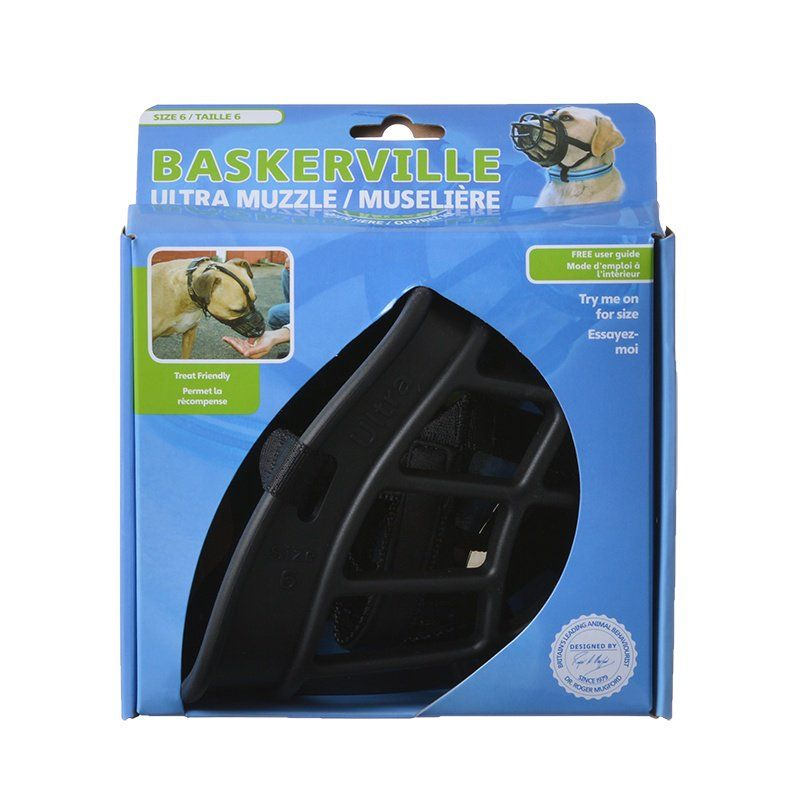 "Baskerville Ultra Muzzle for Dogs Size 6 - Dogs 80-150 lbs - (Nose Circumference 16"")"