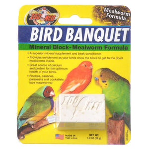 Zoo Med Bird Banquet Mineral Block - Mealworm Formula Small - 1 Block - 1 oz - All Pets Store