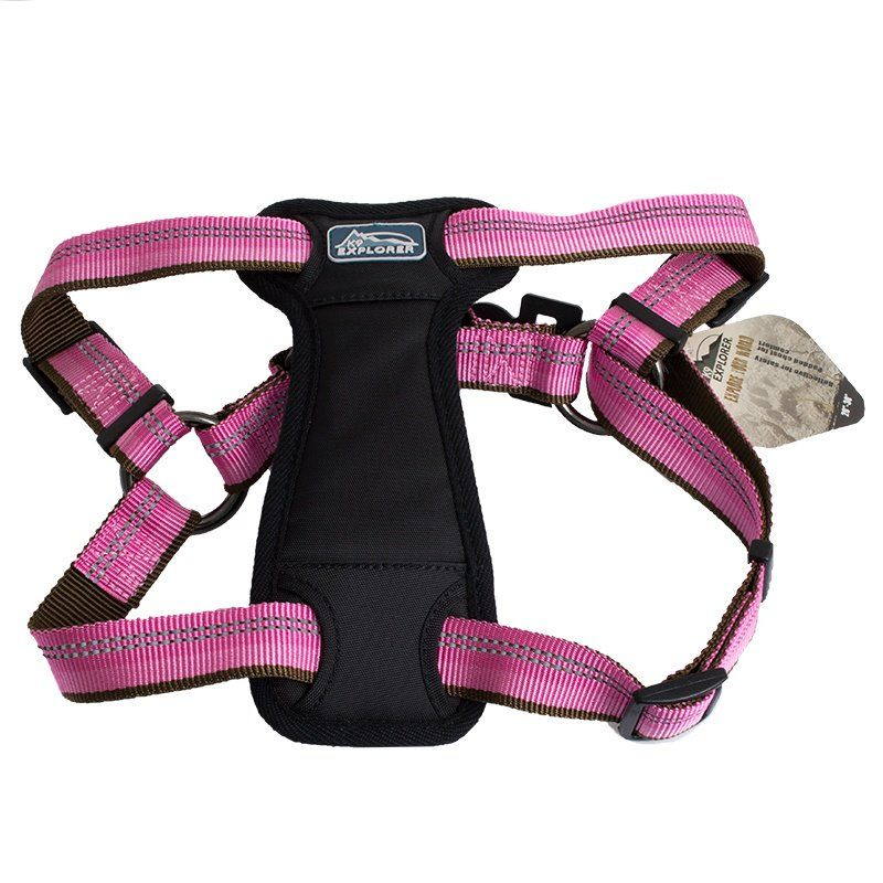 "K9 Explorer Reflective Adjustable Padded Dog Harness - Rosebud Fits 20""-30"" Girth - All Pets Store"