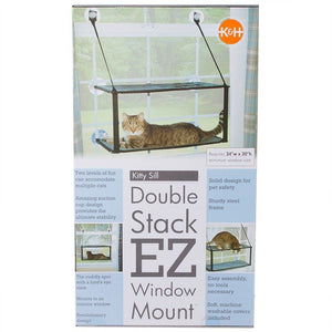 "K&H Kitty Sill - Double Stack EZ Window Mount 12"" Long x 23"" Wide - All Pets Store"