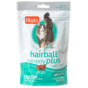 Hartz Hairball Remedy Plus Cat & Kitten Soft Chews - Savory Chicken Flavor 3 oz - All Pets Store