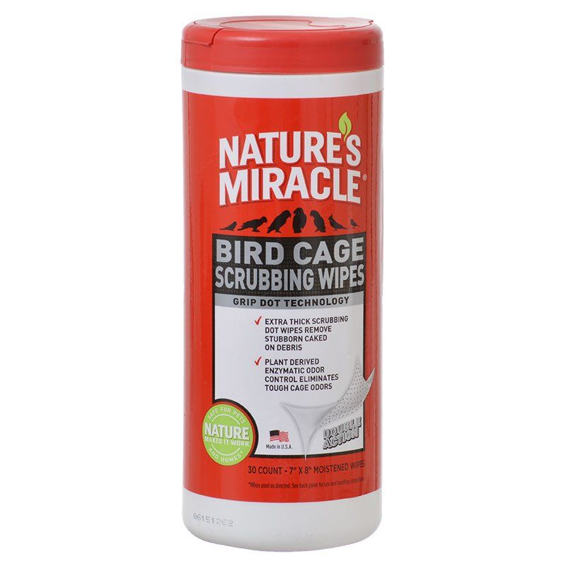 "Nature's Miracle Bird Cage Scrubbing Wipes 30 Count - (7"" x 8"" Wipes) - All Pets Store"