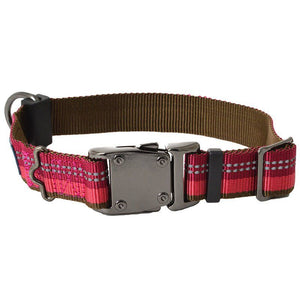 "K9 Explorer Berry Red Reflective Adjustable Dog Collar 12""-18"" Long x 1"" Wide - All Pets Store"