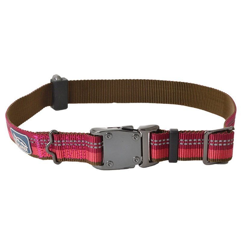 "K9 Explorer Berry Red Reflective Adjustable Dog Collar 18""-26"" Long x 1"" Wide - All Pets Store"