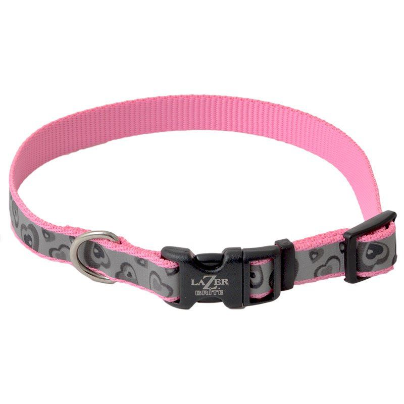 "Lazer Brite Pink Hearts Reflective Adjustable Dog Collar 12""-18"" Long x 5/8"" Wide - All Pets Store"