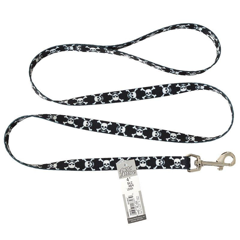 "Pet Attire Styles Skulls Dog Leash 4' Long x 5/8"" Wide - All Pets Store"