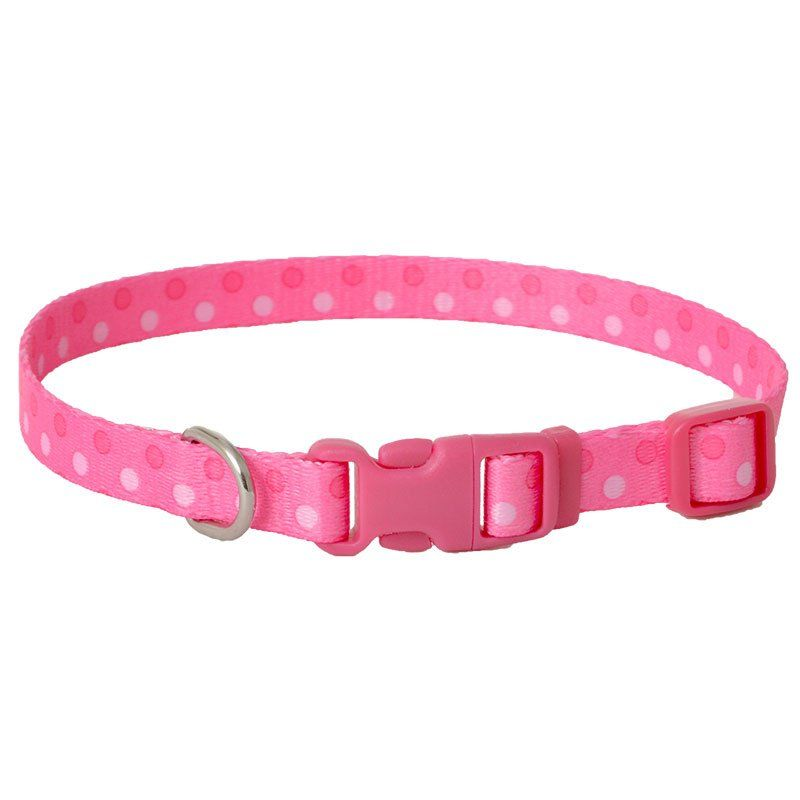 "Pet Attire Styles Polka Dot Pink Adjustable Dog Collar 8""-12"" Long x 3/8"" Wide - All Pets Store"