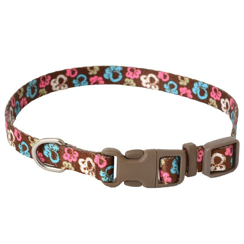 "Pet Attire Styles Special Paw Brown Adjustable Dog Collar 8""-12"" Long x 3/8"" Wide - All Pets Store"