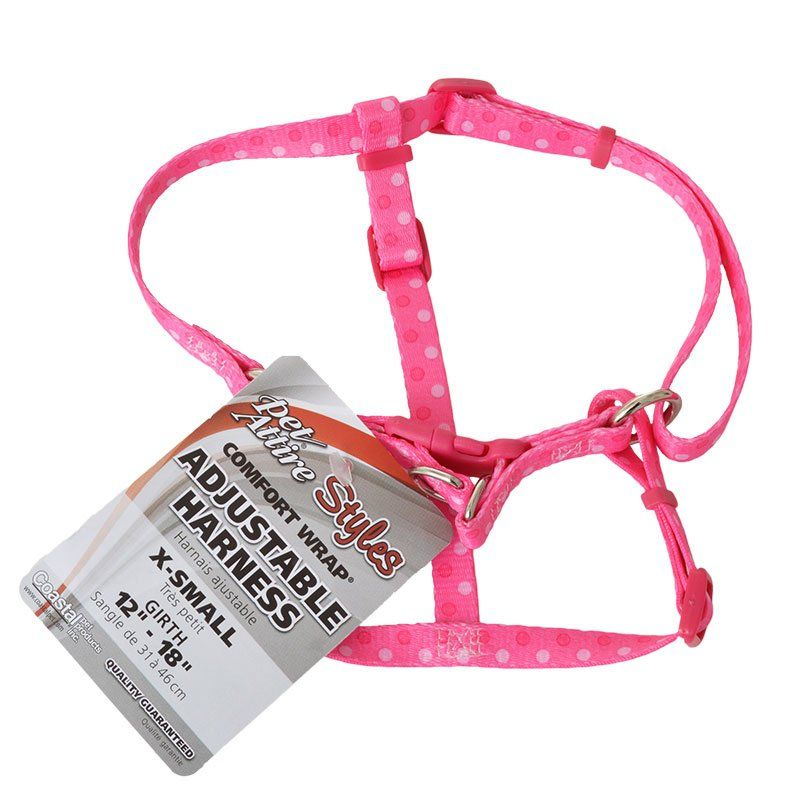 Pet Attire Styles Polka Dot Pink Comfort Wrap Adjustable Dog Harness Fits 12