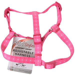 "Pet Attire Styles Polka Dot Pink Comfort Wrap Adjustable Dog Harness Fits 16""-24"" Girth - (5/8"" Straps) - All Pets Store"