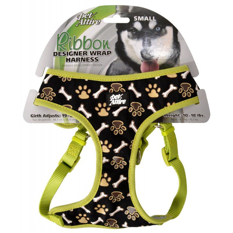 Pet Attire Ribbon Brown Paw & Bones Designer Wrap Adjustable Dog Harness Fits 19