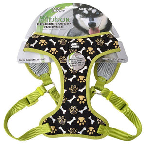 "Pet Attire Ribbon Brown Paw & Bones Designer Wrap Adjustable Dog Harness Fits 22""-28"" Girth - (3/4"" Straps) - All Pets Store"