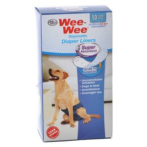 Four Paws Wee Wee Super Absorbent Disposable Diaper Liners 10 Pack - (Fits All Garment Sizes) - All Pets Store